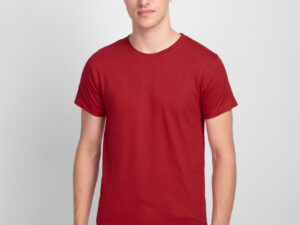 Red colour plain t-shirt for men