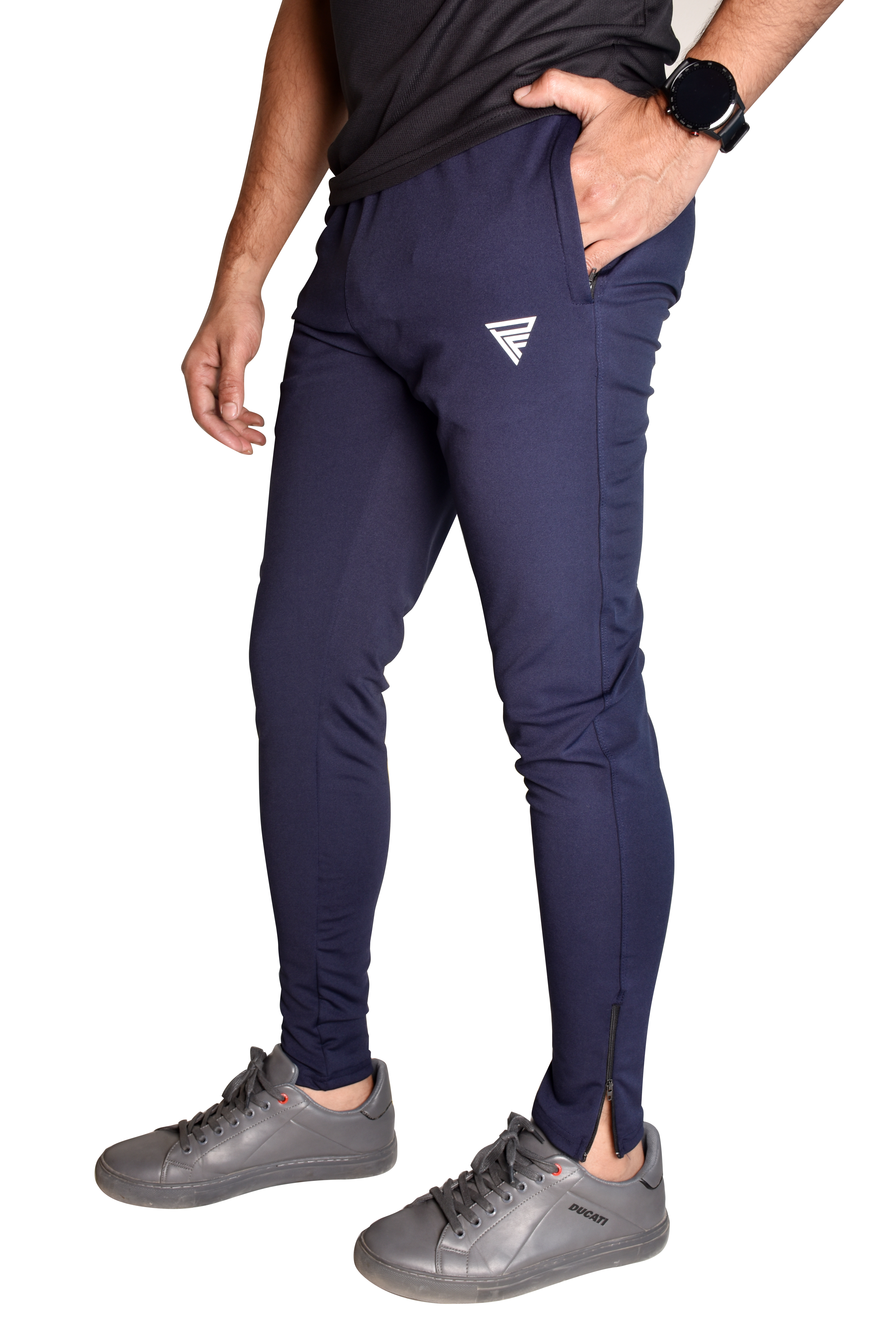 Navy blue training track pants