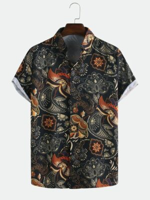 Ethnic Style Flower Printed Casual Shirts
