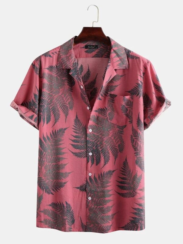 Pine Leaves Print Cotton Reyon Relaxed Shirts