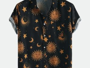 sun moon Element Pattern Print Breathable Shirts