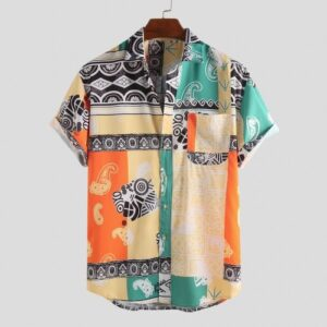 Abstract Element Pattern Print Breathable Shirts