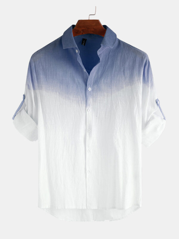 Cotton Gradient Printing Casual Shirt