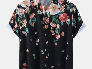 Ethnic Floral Print Loose Casual Shirts