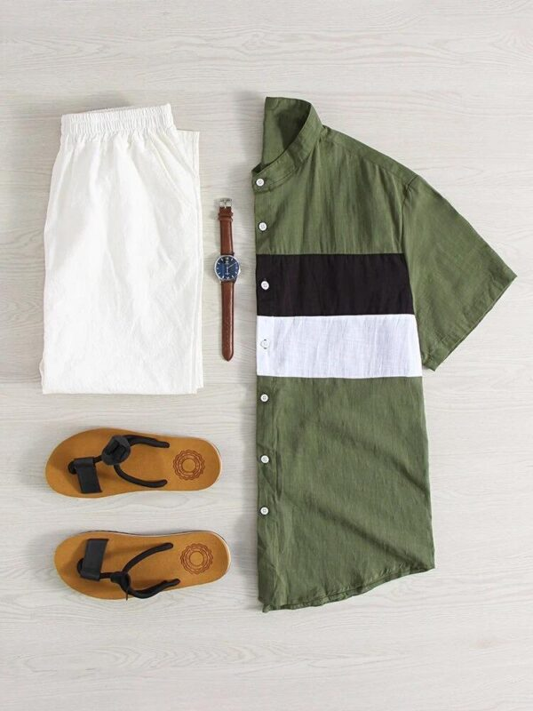 Light Breathable Color Block Patchwork Shirts